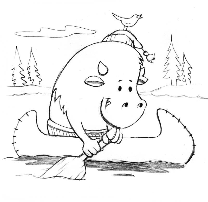 Cartoon buffalo paddling canoe